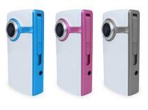 3 caméras vidéo colorées Photos stock