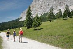 3 caminantes en el camino de la montaña Fotos de archivo