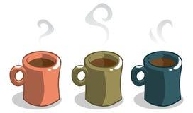 3 canecas de café Imagem de Stock Royalty Free