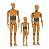 3 car test dummies - family. 3d render of 3 car test dummies - family Stock Photo