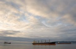 3 Cargo Ships, Columbia River Royalty Free Stock Image