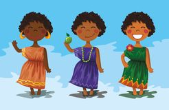 3 cartoon characters - cute African girls. Girls in dresses. smiling face royalty free illustration