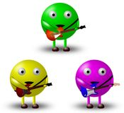3 Cartoon Characters With Guitars -1/2 Royalty Free Stock Photography