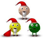 3 Cartoon Christmas Characters Illustration -1 Royalty Free Stock Image