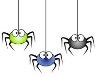 3 Cartoon Spiders Hanging. A clip art illustration of 3 cartoonish looking spiders hanging isolated on white background Royalty Free Stock Image