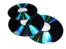 3 CD. Three compac disc isolated in white Stock Photos