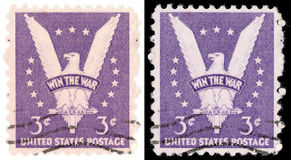 3 Cent US Postage Stamp Win the War from 1942. The Win the War stamp United States postage stamp created to encourage victory in World War II Stock Photo
