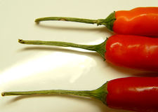 3 chillies. Three red chilies arranged horizontally on a white plate royalty free stock images