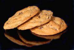 3 chocolate chip cookies Royalty Free Stock Image