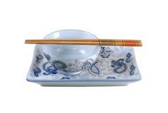 3 chopsticks ιαπωνικά κύπελλων Στοκ Εικόνες
