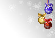 3 Christmas balls & snow. Three Christmas balls with ribbons on a snowy background. Digital Illustration Stock Photo