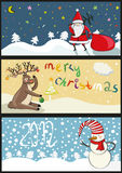 3 christmas banners in. 3 christmas banners with Santa, deer and snowman and text. ector illustration Vector Illustration