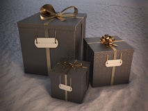 3 christmas gift boxes Stock Images