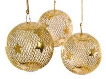 3 christmas gold mesh ornament Στοκ φωτογραφία με δικαίωμα ελεύθερης χρήσης
