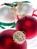 3 christmas ornaments white Στοκ Εικόνες