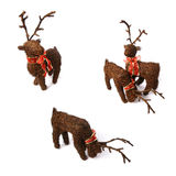 3 christmas reindeers positions. With a red bow in the neck, isolated on white background royalty free stock photography