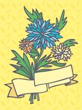 3 chrysanthemum flowers with a ribbon for the insc. A bouquet of three chrysanthemum flowers with a ribbon for the inscriptions on a yellow background with Royalty Free Stock Images