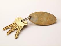 3 claves del oro y keychain en blanco aislados Imágenes de archivo libres de regalías