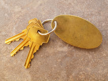 3 claves del oro y keychain en blanco en el azulejo Imágenes de archivo libres de regalías