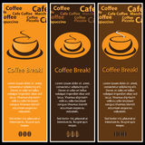 3 Coffee Banners. Three brown and orange coffee cup banners background Royalty Free Stock Photos