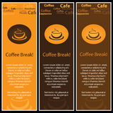 3 Coffee Banners. Three Brown and Orange Coffee Cup Banners Background Texture Design Royalty Free Stock Photo