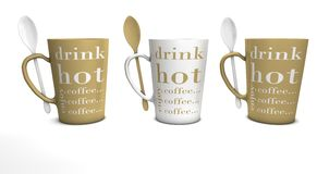 3 Coffee mugs with spoons Stock Photo