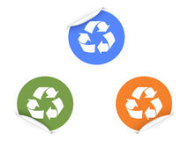 3 color recycling Stickers. For design Royalty Free Stock Image