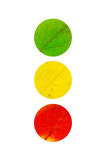 3 colored Leaves in the shape of traffic light