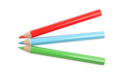 3 colored pencils Royalty Free Stock Images