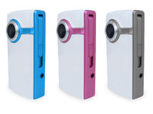 3 Colored Video Cameras. Three different colored video cameras are against a white background. Colors include blue, pink and silver Stock Photos