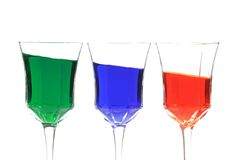 3 colors. Primary colors in wine glasses royalty free stock images