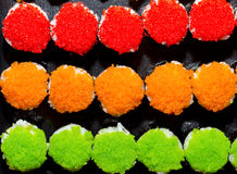 3 colors sushi , red orange green Royalty Free Stock Photo