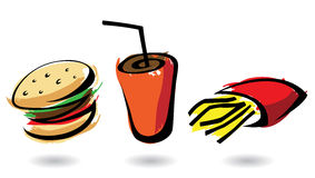 3 colourful fast food icons. Isolated illustrations Stock Photos
