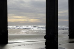3 Columns. Three Columns at La Jolla Shores pier in San Diego Stock Photos