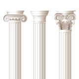 3 columns in different styles. Ionic, doric, corinthian - for your architectural designs Stock Photography