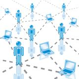3. Computer Network in blue. Rasterized royalty free illustration