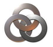 3 connected metal rings. On white background Royalty Free Stock Photos