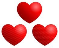 3 corazones rojos Fotos de archivo libres de regalías