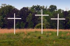 3 Crosses. Three crosses in rural field Royalty Free Stock Photo