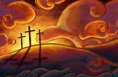 3 Crosses. On a hill vector illustration