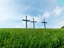 3 Crosses. On a hill stock photos