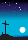 3 crosses at night Stock Photography