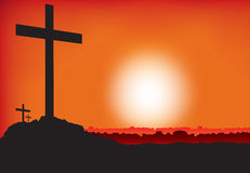 3 crosses at sunset or dawn Royalty Free Stock Photography