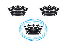 3 crowns. A set of three vector crowm icons Stock Images