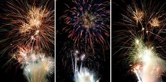 3 cuadros de los fuegos artificiales Fotografía de archivo
