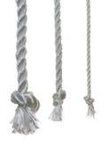3 cuerdas del otton con los nudos Imágenes de archivo libres de regalías