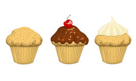 3 cup cakes. Set of 3 cup cakes Stock Photos