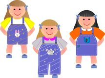 3 cute girls in their outfits illustration. Royalty Free Stock Photography