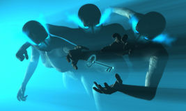 3 cyborg dive for key. 3d render of female cyborgs Royalty Free Stock Photo