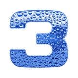 3 cyfry kropel listu metalu woda Zdjęcie Royalty Free